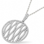 "J-Jaz Micro Pave Round Fancy Cz Pendant with 18"" Chain"
